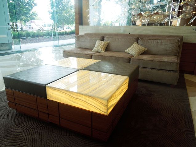 Perfect Backlit Onyx Ottomans Lobby Furniture GPI Design.