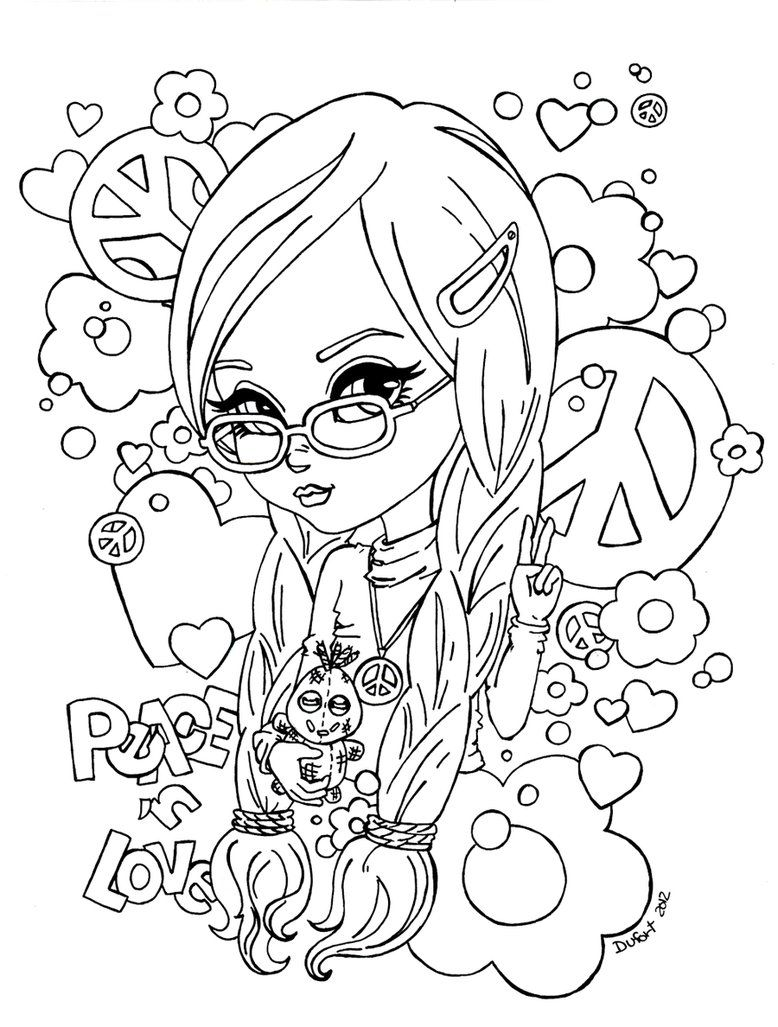 Peace n Love by JadeDragonne DessinColoration AdultePages € ColorierLivres