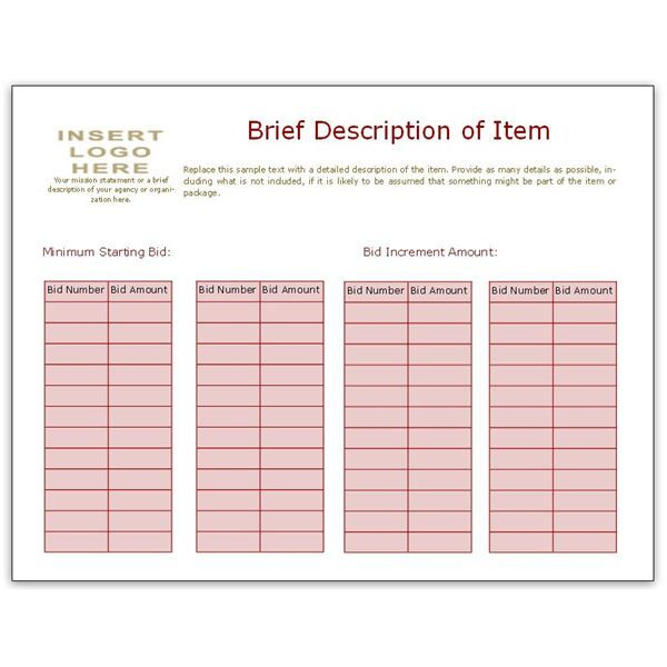 Bid Sheet Template Using Bidder Numbers Volunteer! Pinterest - Bid Sheet Template Free