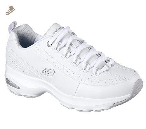 DLite Ultra-Illusions, Entrenadores para Mujer, Blanco (White/Silver), 38 EU Skechers