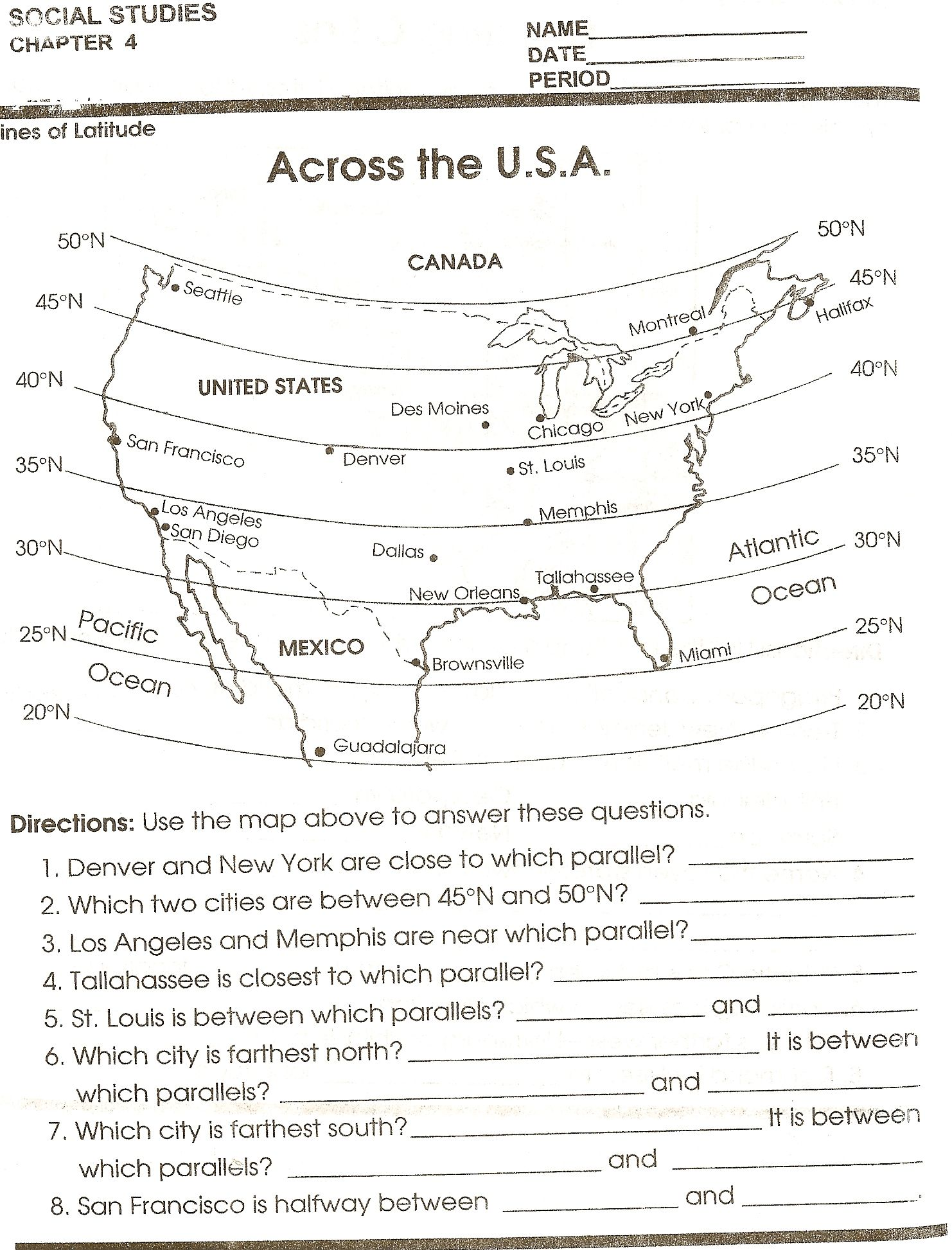 Th Grade Social Studies Educatin Pinterest Social Studies - Us map skills worksheets
