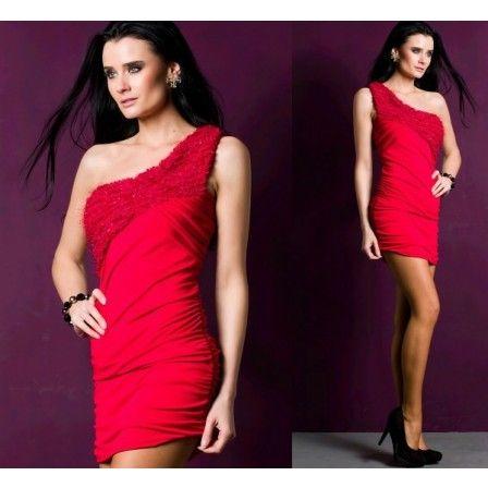 Mini abito a una manica - colore rosso