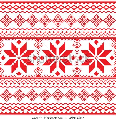 Traditional folk red embroidery pattern from Ukraine or Belarus ...