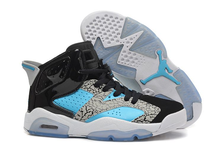 Buy Womens New Air Jordan 6 Girls Retro Leopard Print Black Blue White Online Shop