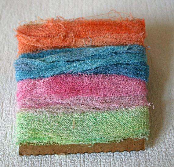 Cotton scrim ribbon hand dyed multicoloured by yarnsandfabrics, £1.50