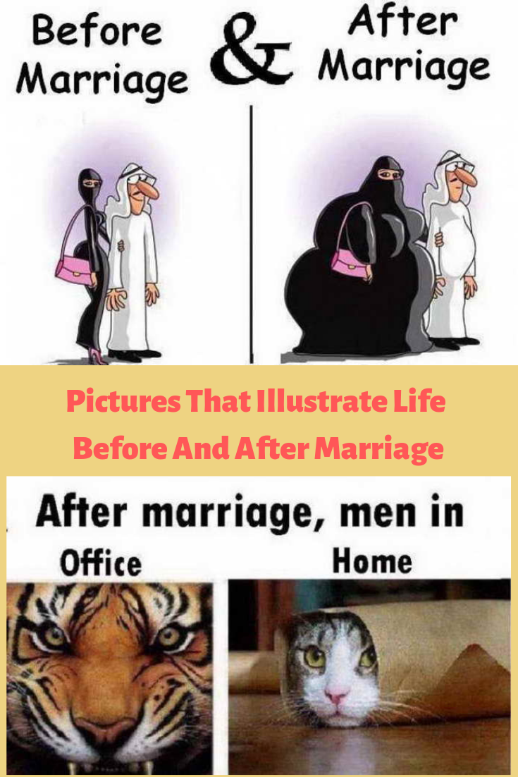 Pictures That Illustrate Life Before And After Marriage Before And After Marriage Marriage Quotes Funny Marriage Memes