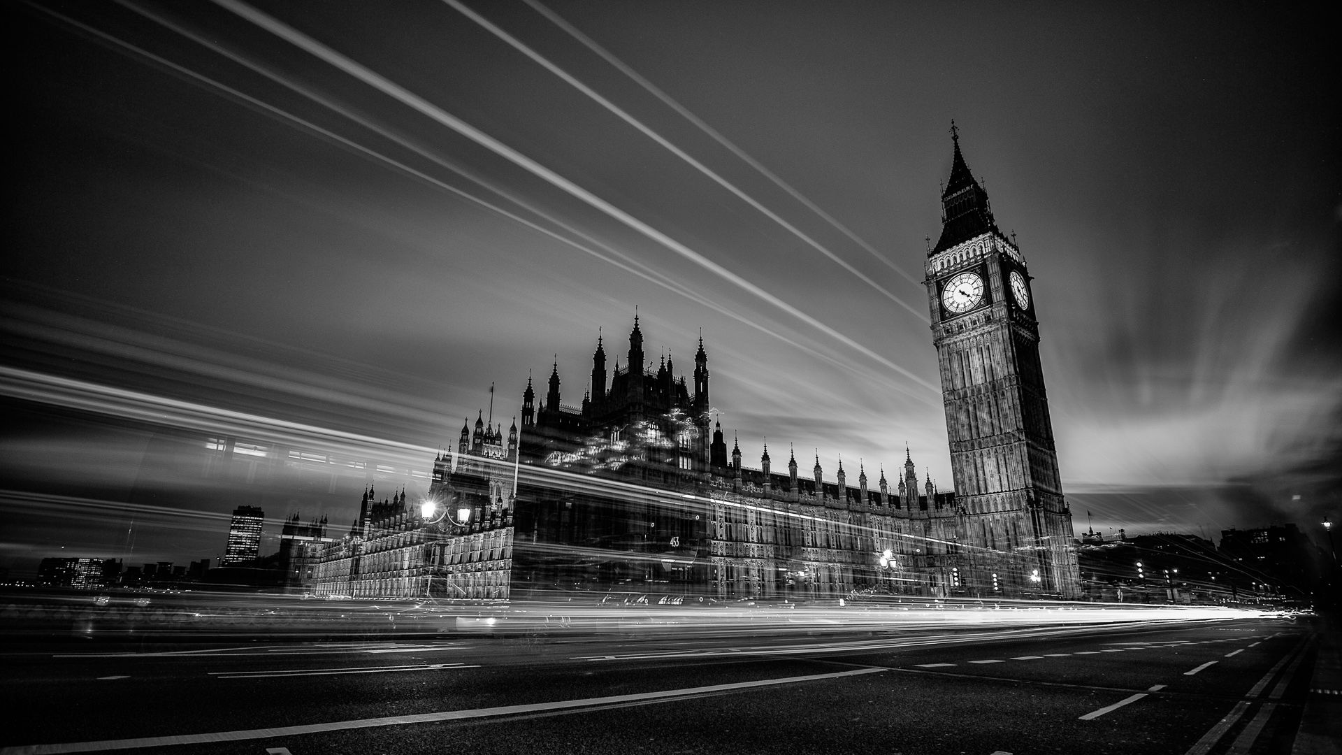 Black And White View Of London Skyline At Dusk Editorial ... |London Skyline Wallpaper Black White