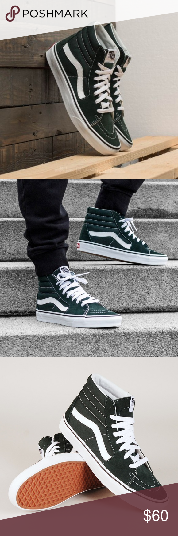 54aba5db2430 Vans Scarab green and white high SK8-HI NWT IN BOX. Unisex. Fits a men s  10  women s 11.5