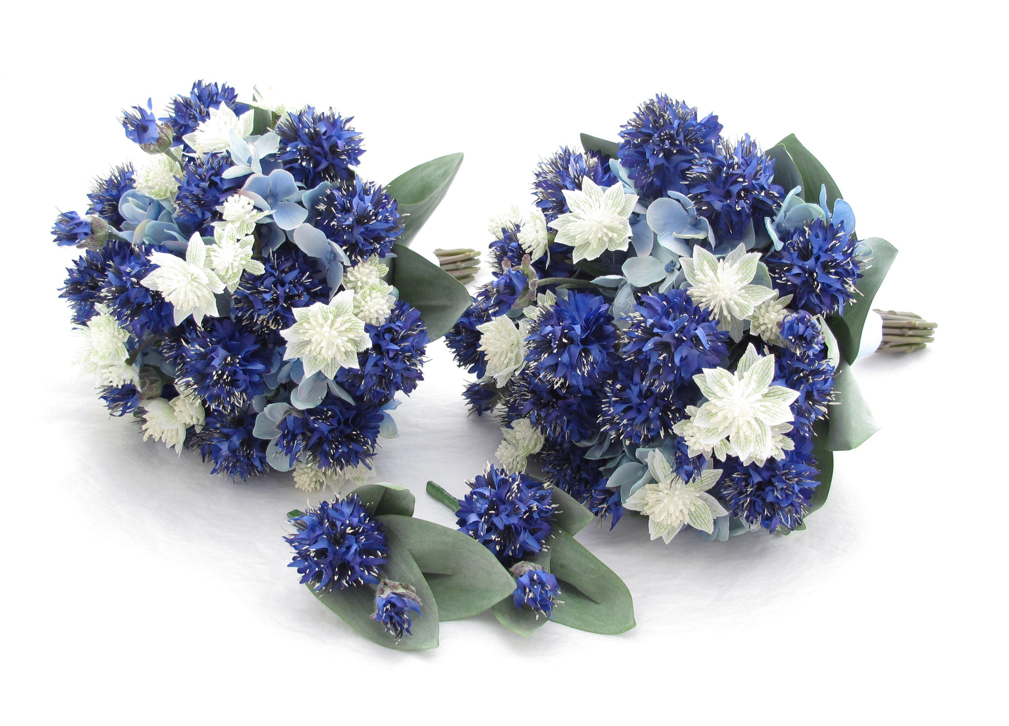 Bridesmaids posies of royal blue cornflowers sky blue