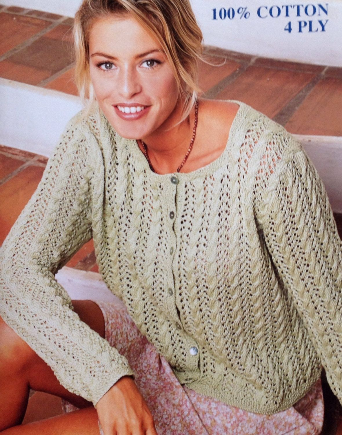 Ladieswomens 4 ply cotton lace cardigan knitting pattern size 32 ladieswomens 4 ply cotton lace cardigan knitting pattern size 32 42in 81 bankloansurffo Image collections