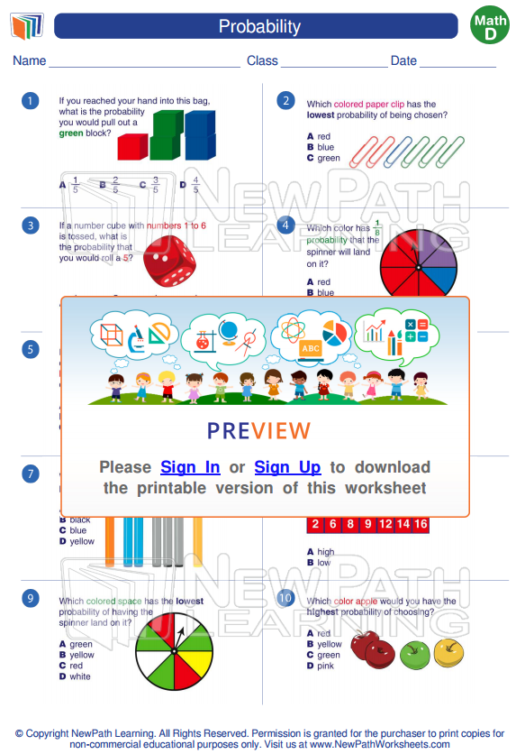 Grade4 #Math. To view more #Probability #Worksheets visit our ...