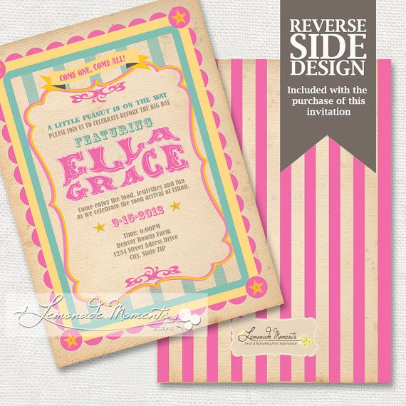 Circus Baby Shower Invitation Carnival Top Printable Pink