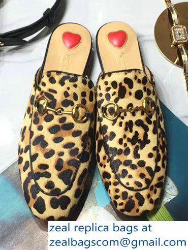 02c715555136 Gucci Princetown Leopard Calf Hair Slipper Horsebit Detail 476250 2017
