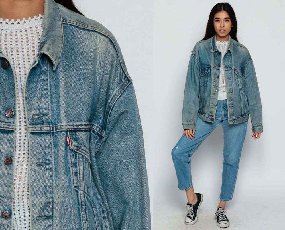 vintage 90s levi's jean jacket - perfectly faded denim blue jean jacket - size medium/large