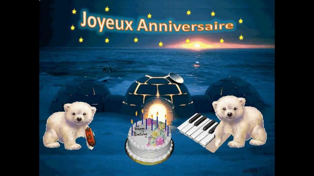carte d anniversaire animé Bonne fête par des ours polaires Happy Birthday by polar bears