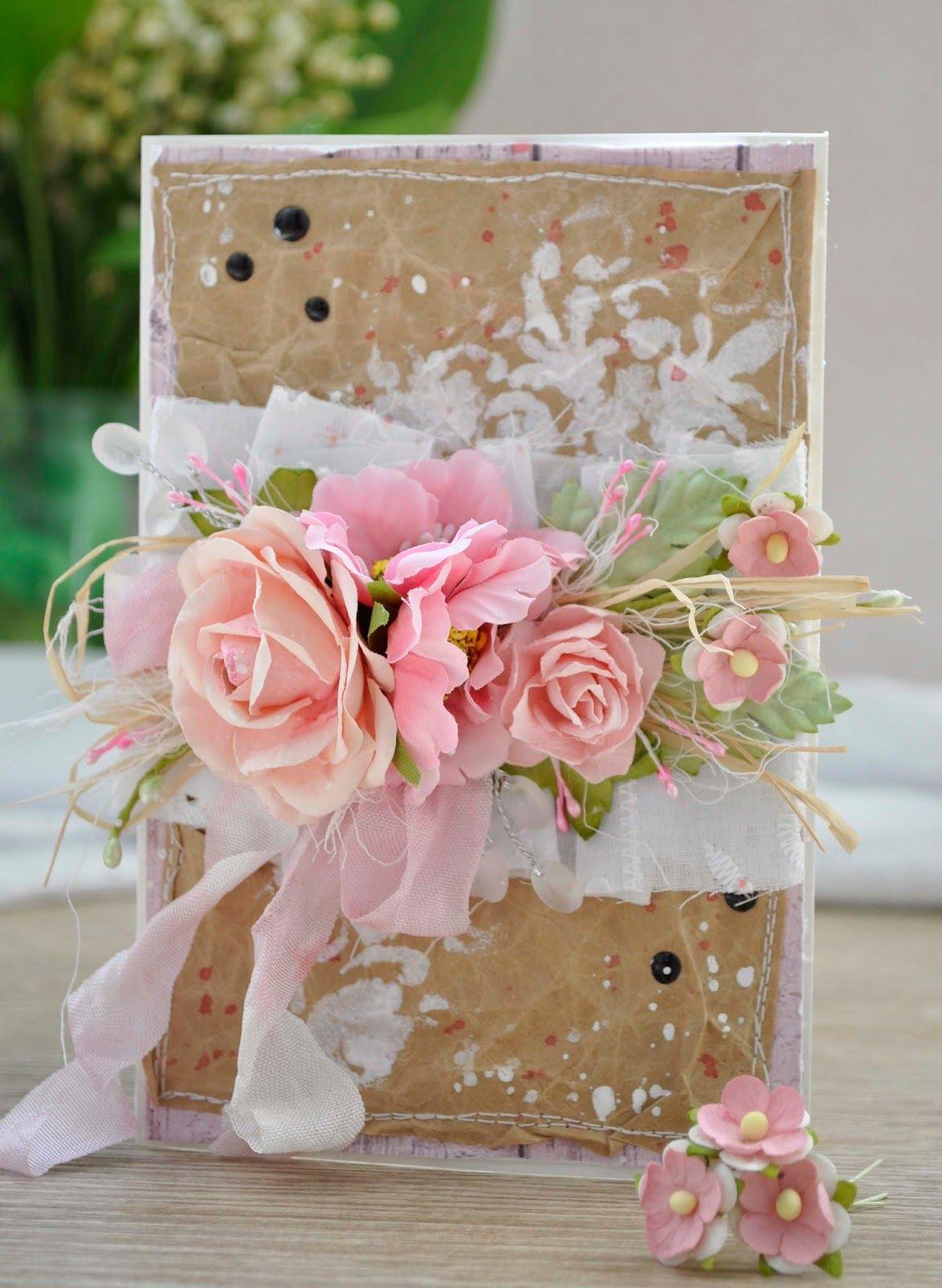 Скрапбукинг открытки в розовых тонах