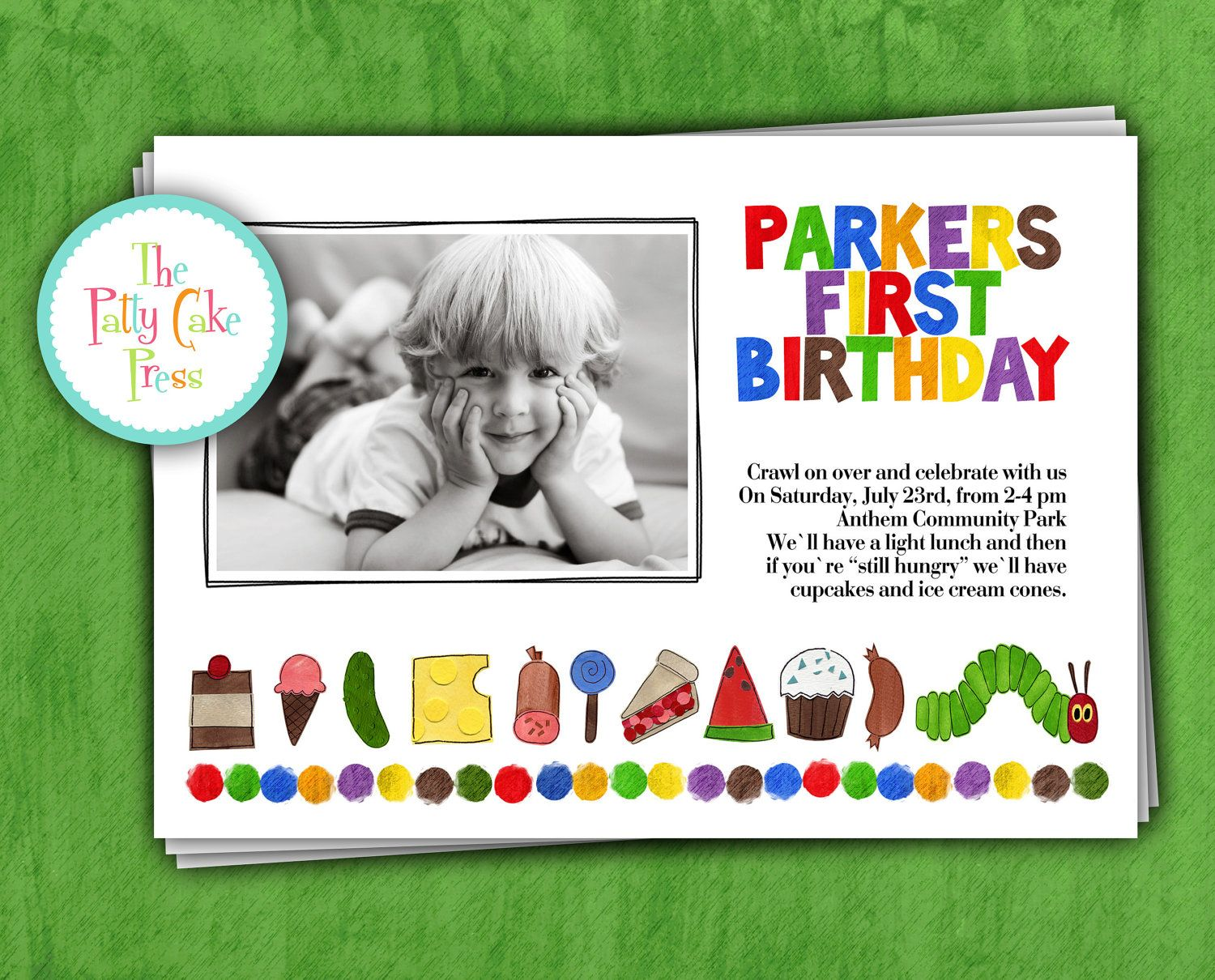 Very Hungry Caterpillar Invitation with Photo Birthday Party First ...