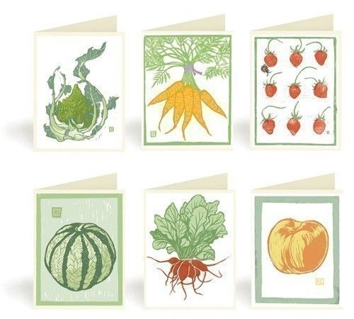 Vegetable And Fruit Block Print Notecards Pack 2 By Drenculture