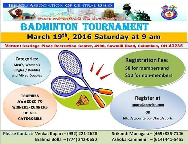Taco 2016 Badminton Tournament In Columbus At Carriage Place Rec Ctr 4900 Sawmill Road Columbus Oh Tickets Indi Badminton Tournament Badminton Tournaments