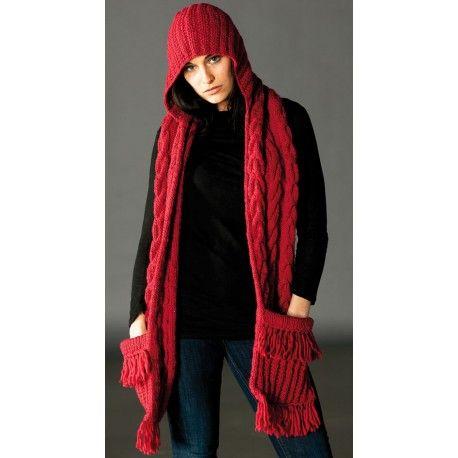 Women's hooded Scarf 100% merino wool with large pockets | Samomaya