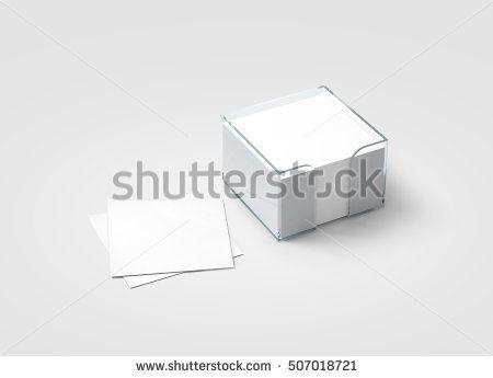 Blank white sticker note block plastic holder mockup, clipping - blank memo template
