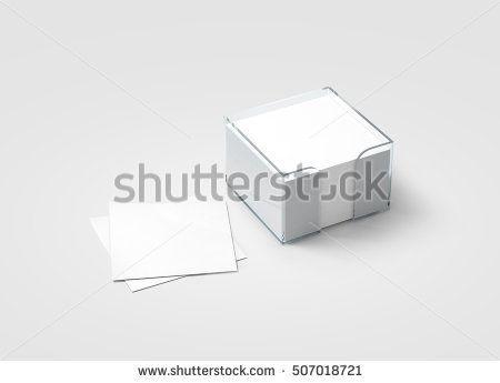Blank White Sticker Note Block Plastic Holder Mockup Clipping