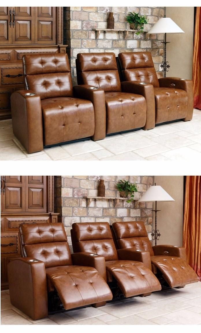 Best The Andria 3 Piece Top Grain Leather Power Media Recliners 400 x 300