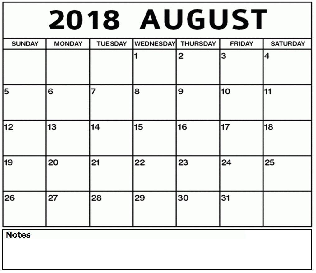 Calendar For August 2018 Printable Free Template Calendar