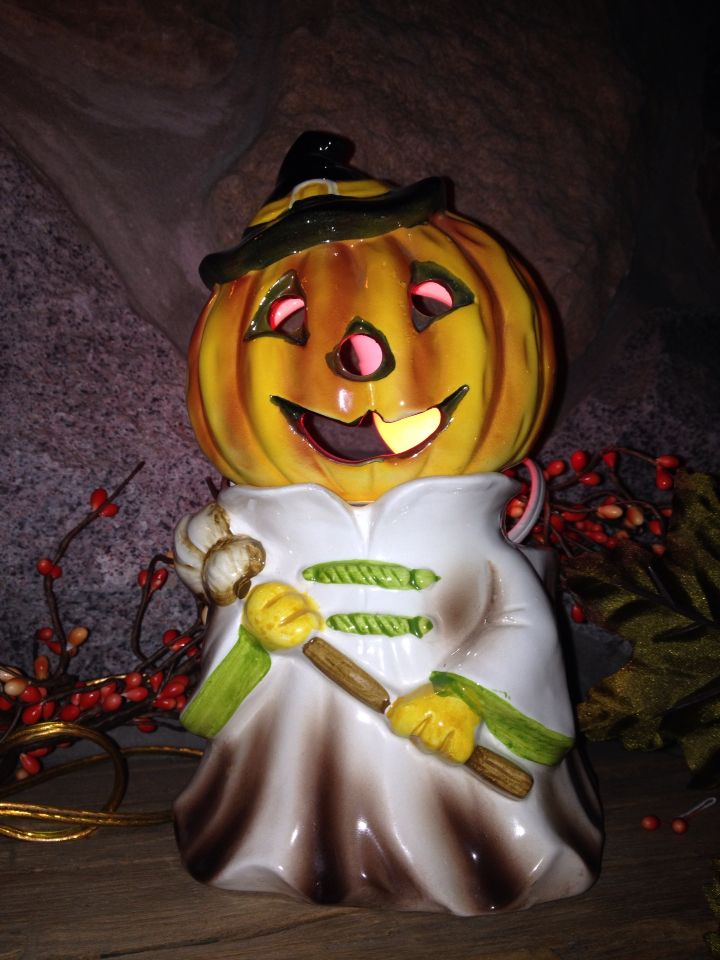 Ceramic lighted pumpkin Vintage Halloween decoration Halloween - halloween lighted decorations