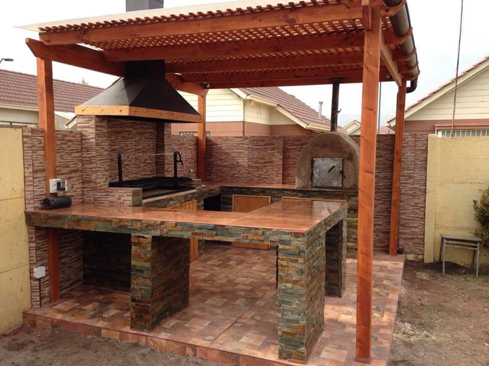 Quincho for Choza de jardin de madera techo plano