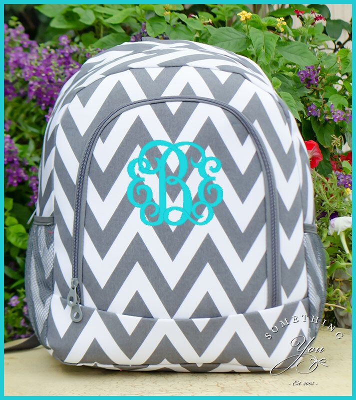 HEAVY DUTY Grey Chevron Personalized Backpack - Monogrammed Girls ...