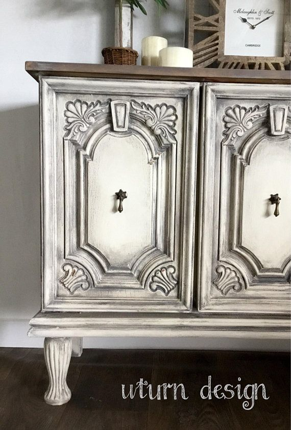 Sold!!! Sold!!! White And Grey Painted Buffet, Rustic