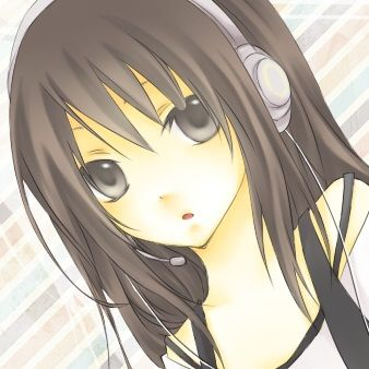 Anime Girl With Black Hair And Brown Eyes With Headphones