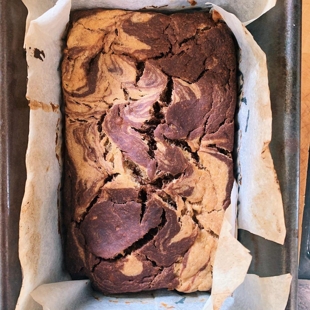 CHOCOLATE MARBLE BANANA BREAD 🍌  #-Bakeataround180Cto200Cfor40-45minutes.