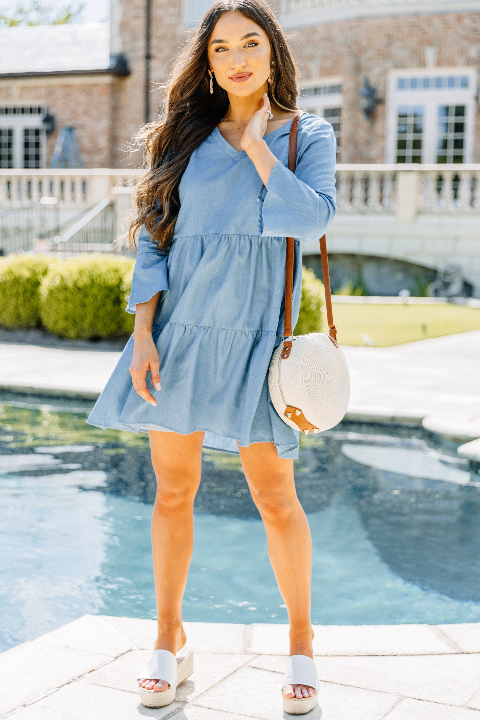 Easy Go Blue Chambray Babydoll Dress Cute Beach Outfits Cute Casual Outfits Fashion Nova Outfits [ 3000 x 2000 Pixel ]