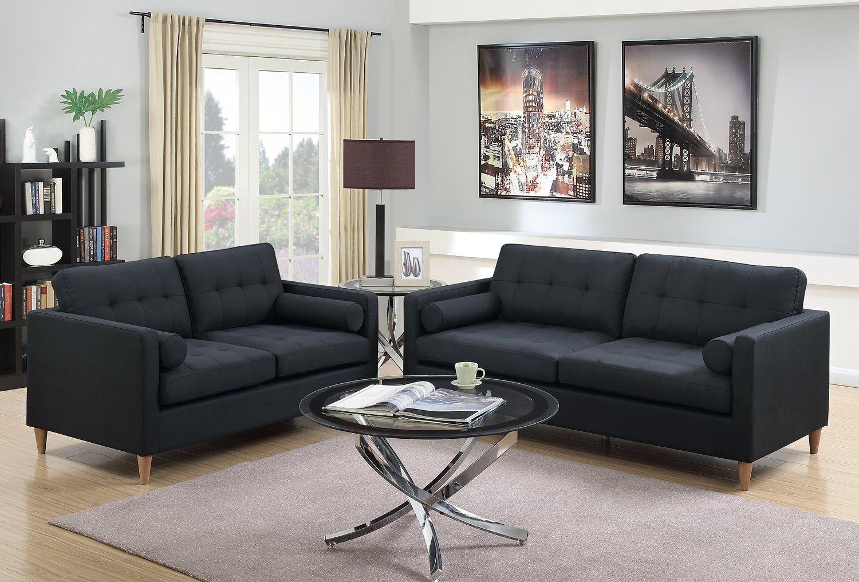 Poundex F6536 Bobkona Malvern 2piece Sofa And Loveseat Set Black