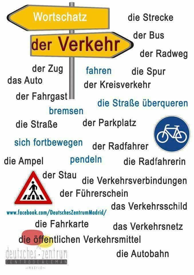 Wortschatz : der Verkehr | német | Pinterest | German ...
