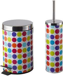 ColourMatch Bathroom Bin and Toilet Brush Set - Spots. # ...