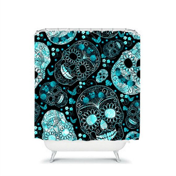 black and turquoise shower curtain. Turquoise  Sugar Skull Shower Curtain Aqua Black By FolkandFunky