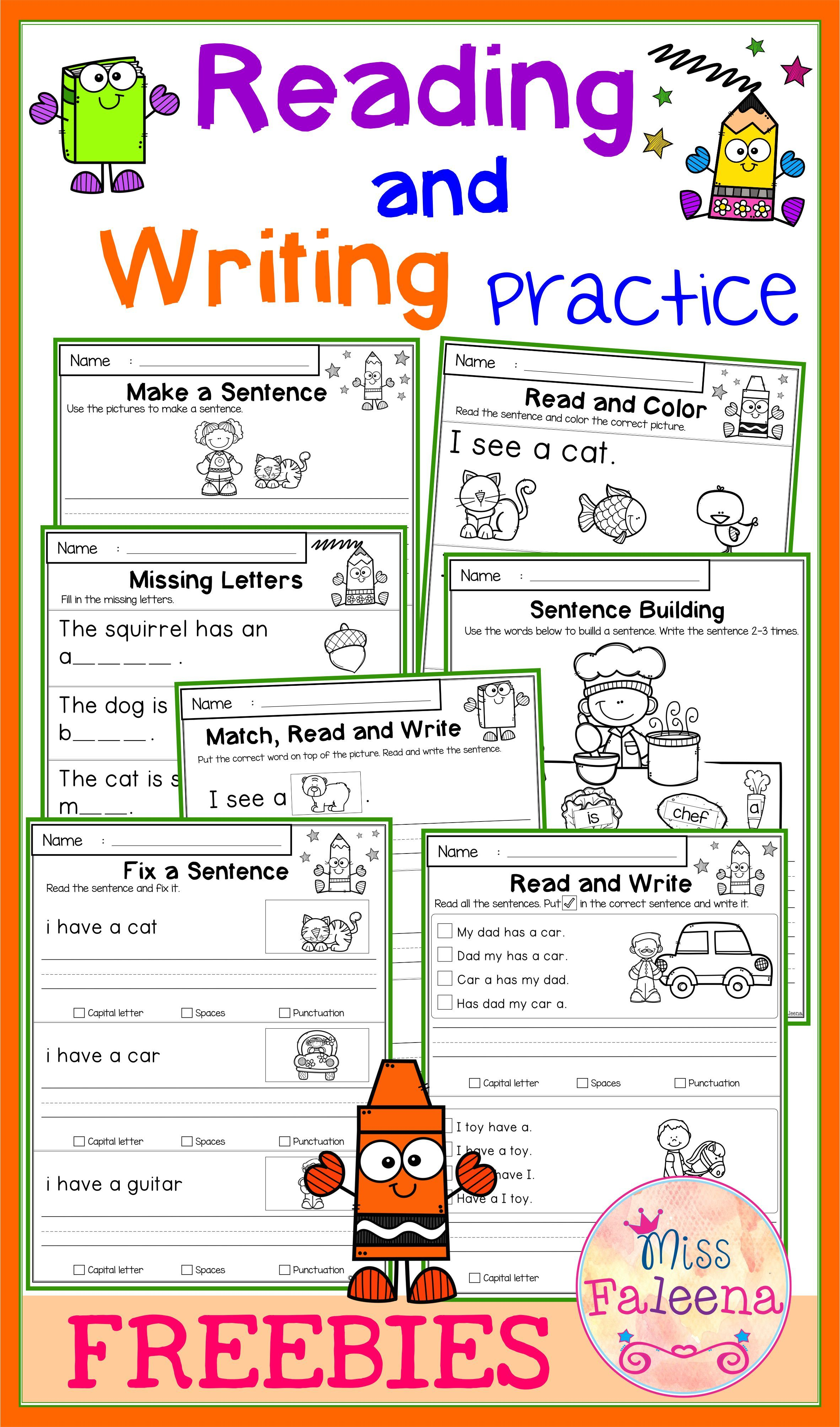 Free Reading And Writing Practice Writing Practice Kindergarten Writing First Grade Worksheets [ 4016 x 2364 Pixel ]
