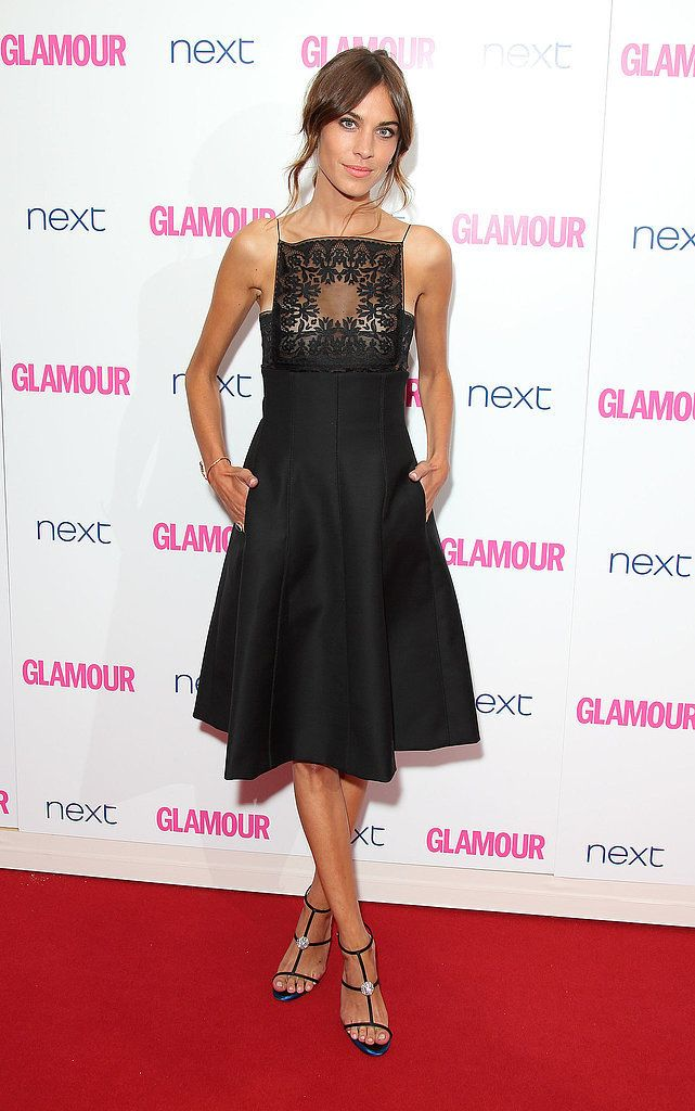 At the Glamour Women of the Year Awards, Alexa Chung's modest Dior LBD had an alluring surprise: a sheer bodice. And those sandals? It just doesn't get much sexier!