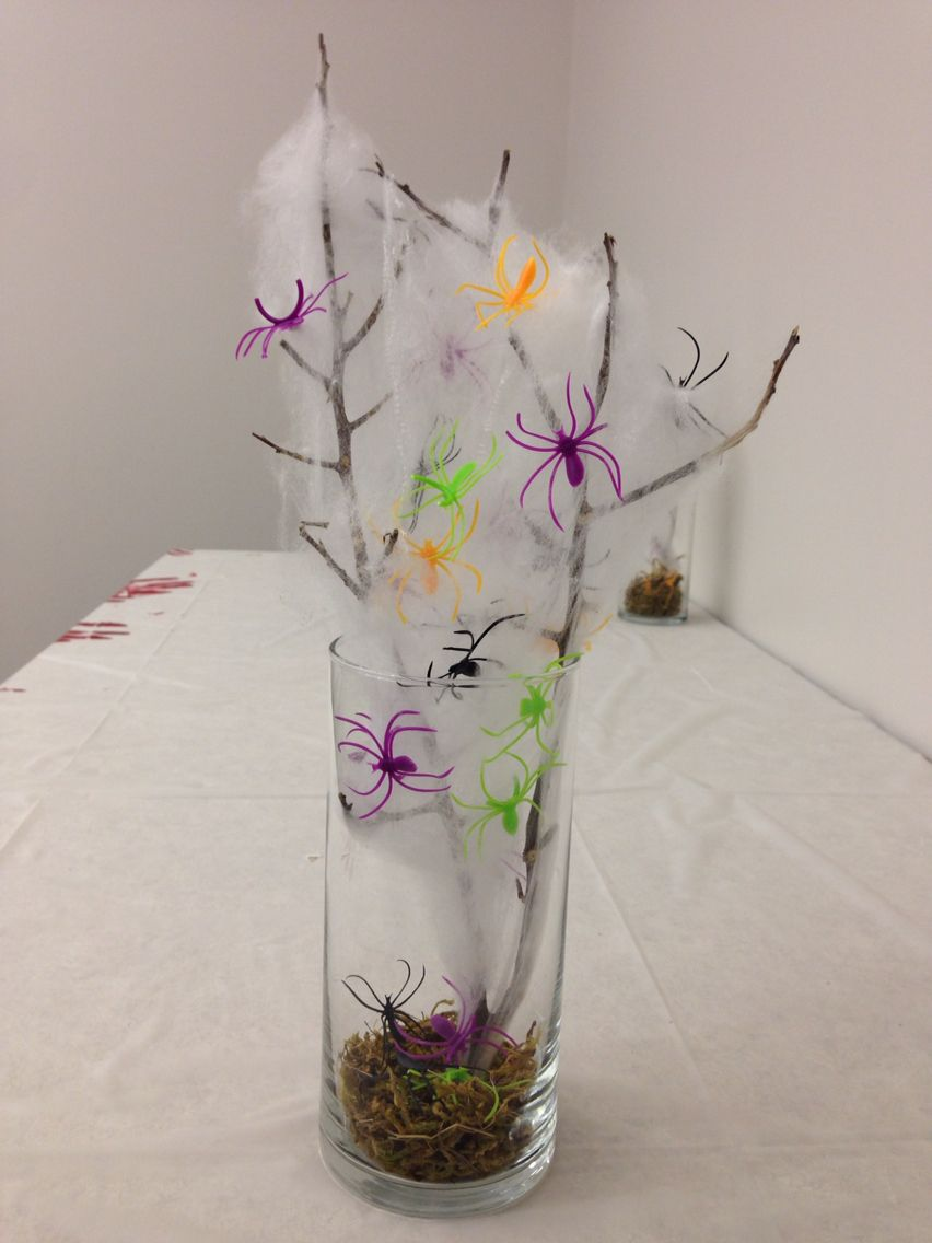 Dollar store moss and glass vase Find a tree branch from outside - Halloween Decorations For The Office