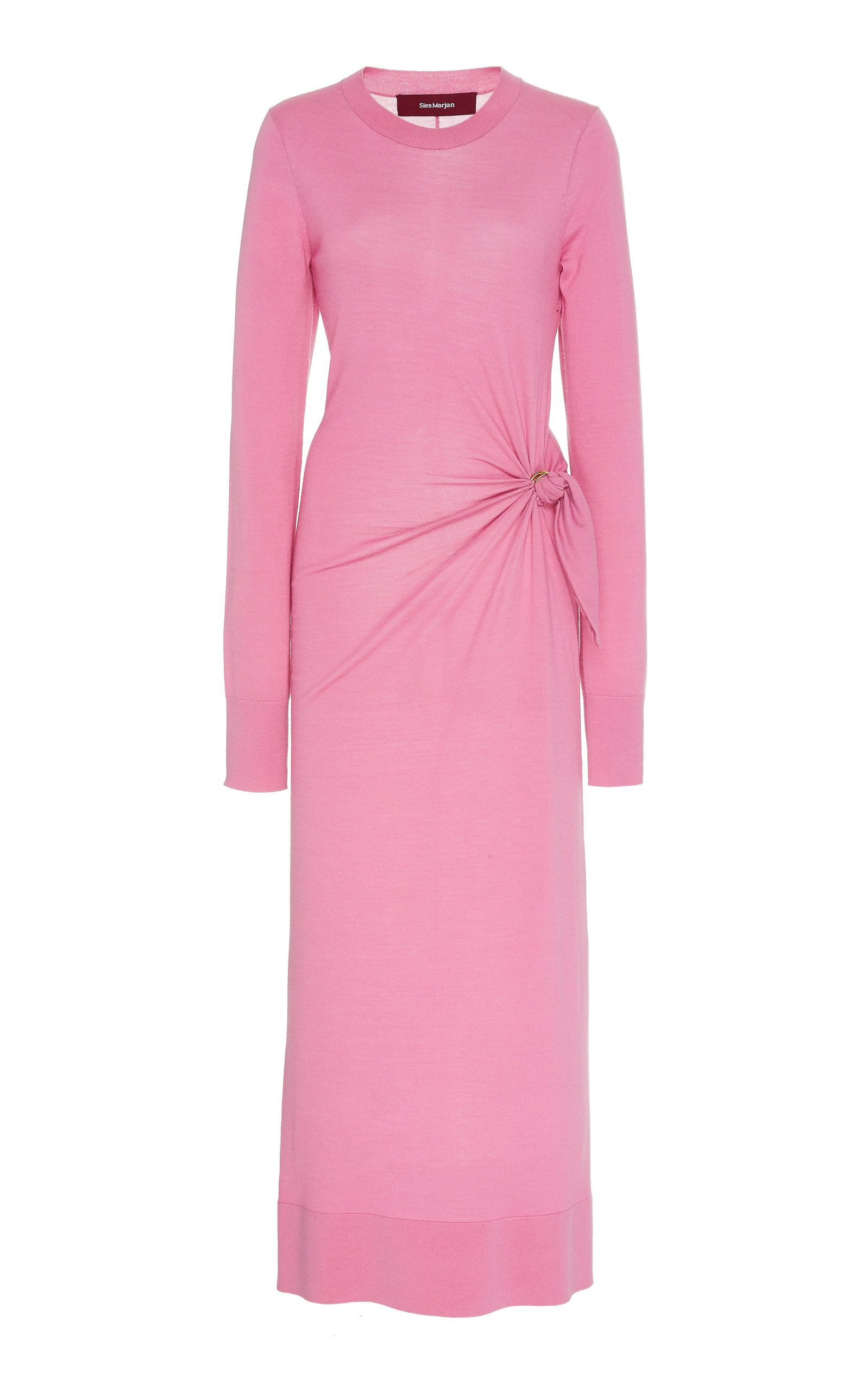 Sies Marjan Selma pink merino wool dress ($795) | Midi