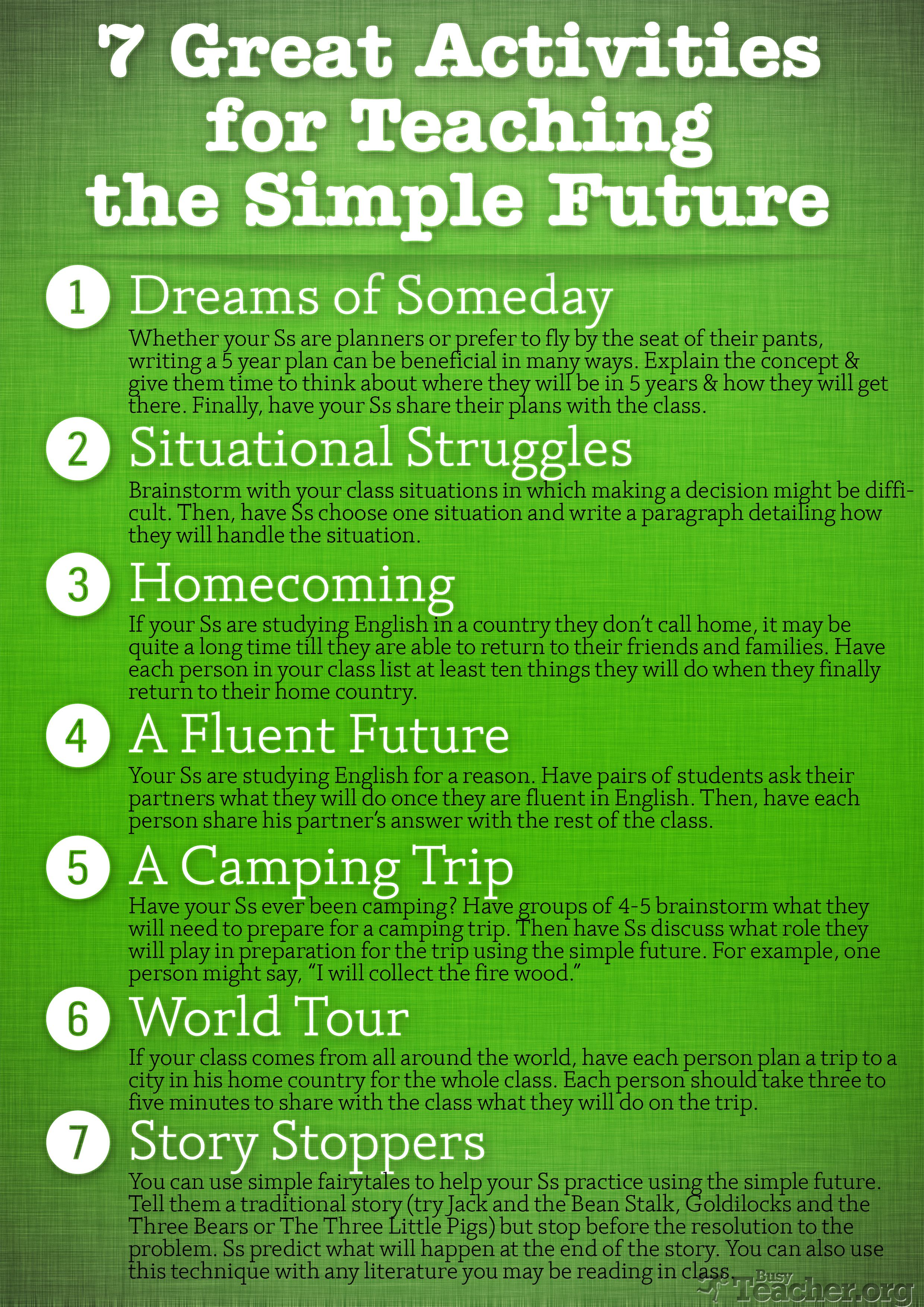 7 Great Activities To Teach The Simple Future Poster