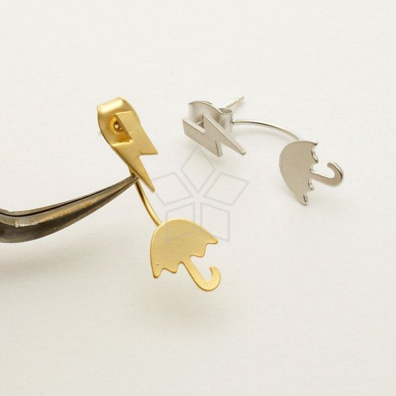 EA-161-MG / 2 Pcs - Ear Jackets (Small Umbrella), for Ear Cuffs and Front Back Earrings, Matte Gold Plated over Brass / 8.6mm x 9.6mm