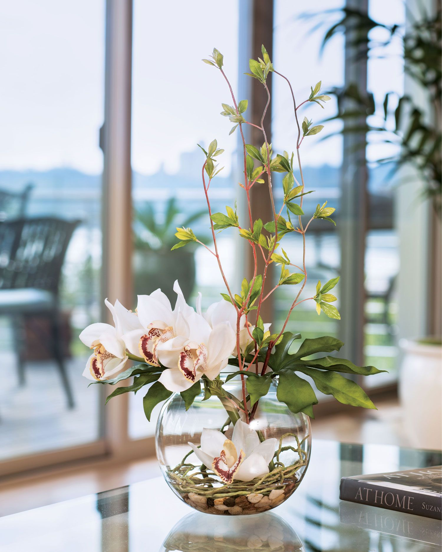 Cymbidium Orchid & Monstera Leaf Silk Flower Arrangement