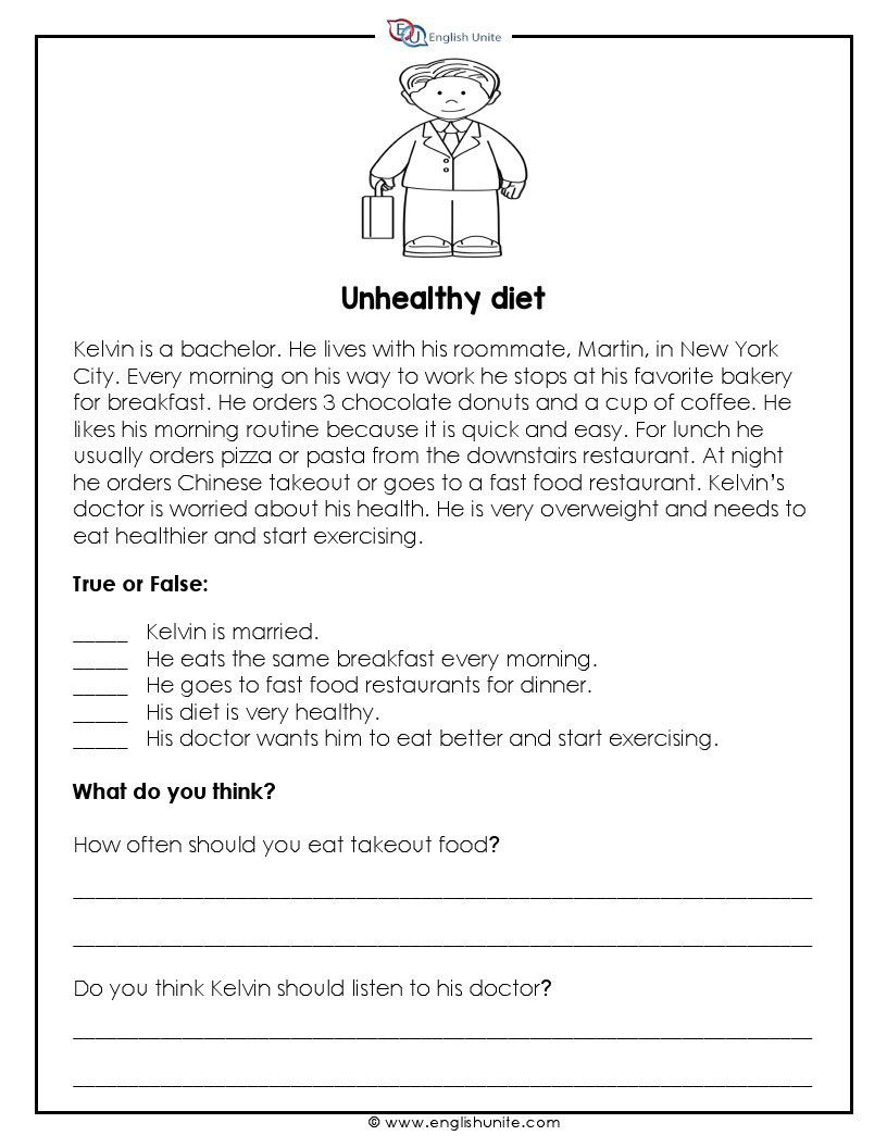 Short Story Unhealthy Diet English Unite Reading Comprehension Lessons Short Reading Passage Teaching Reading Comprehension [ 1056 x 816 Pixel ]