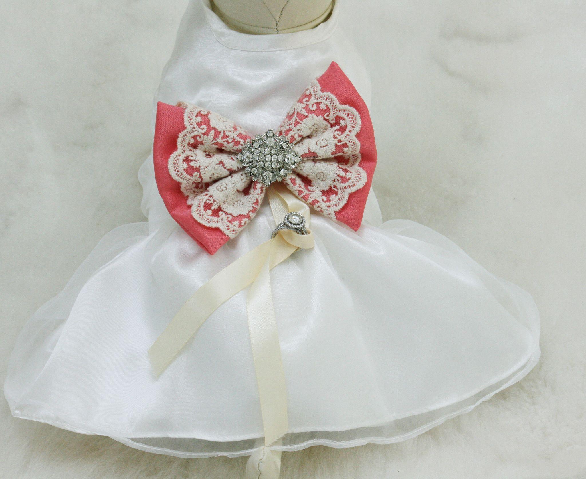 Coral Dog dress, Dog ring bearer, Coral pet Wedding