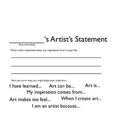 Artist Statement Template Middle School  Google Search  Art