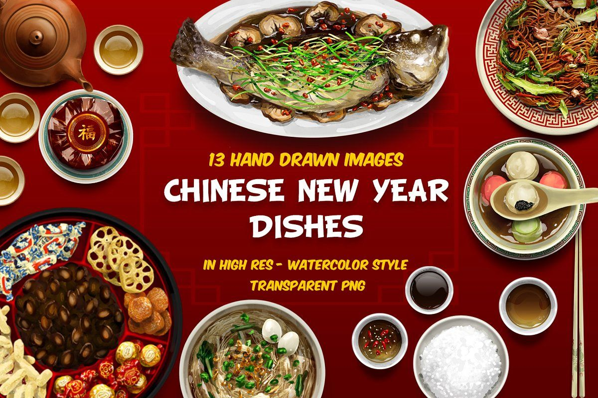 Chinese New Year Dishes Hand Drawn Chinese New Year Dishes Steam Recipes Food